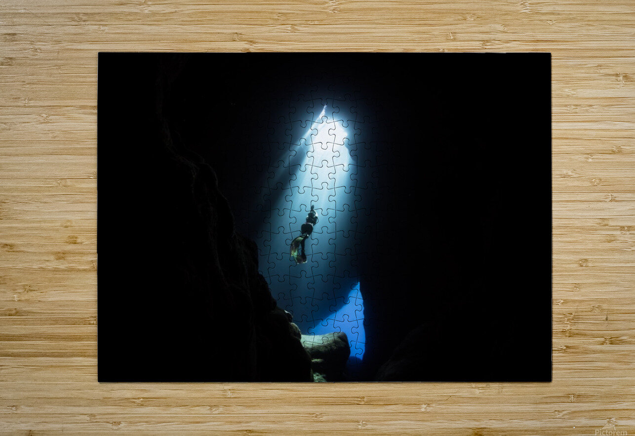 Dark cave  HD Metal print with Floating Frame on Back