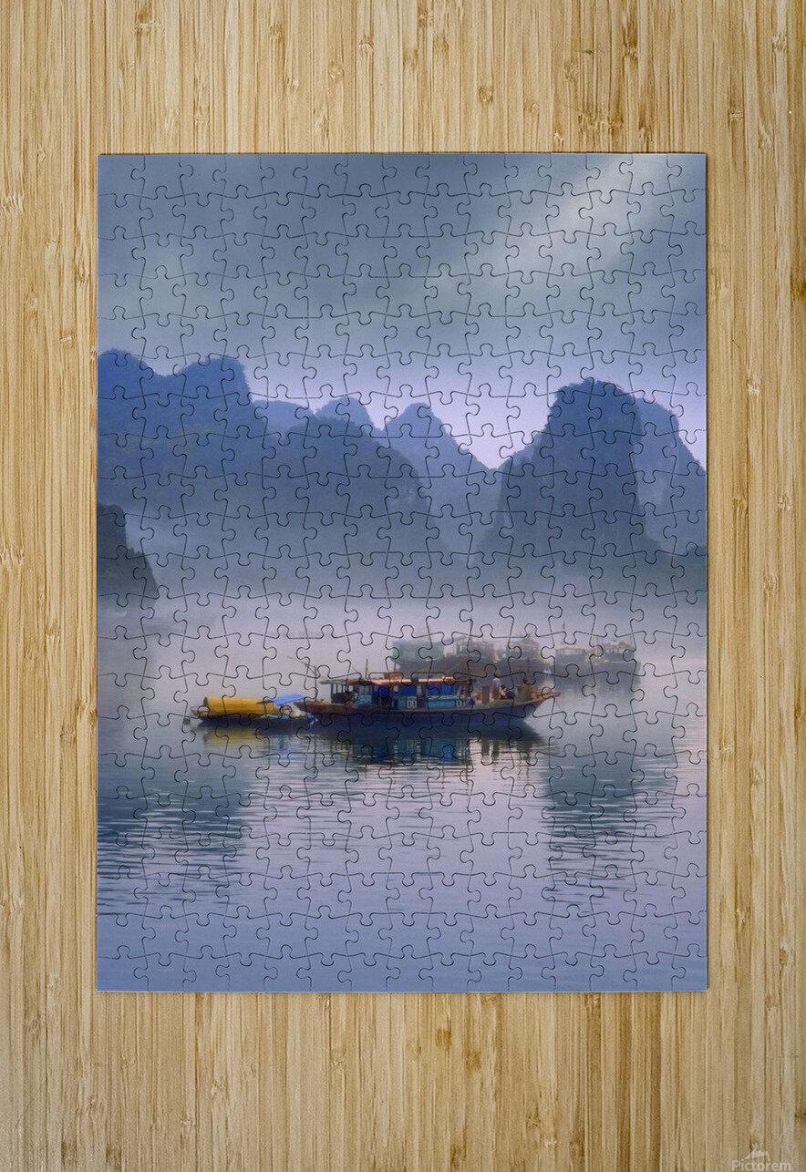 Junks On Halong Bay  HD Metal print with Floating Frame on Back