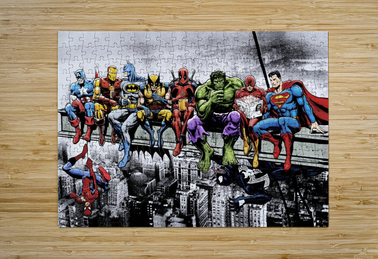 Marvel and DC Superheroes Lunch Atop A Skyscraper Featuring Captain America, Iron Man, Batman, Wolverine, Deadpool, Hulk, Flash & Superman  HD Metal print with Floating Frame on Back