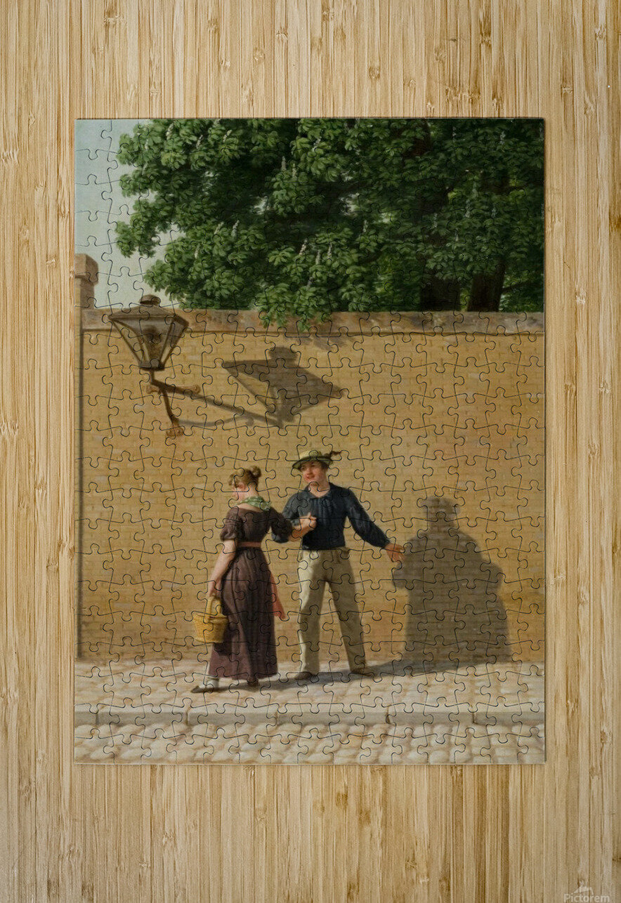 A sailor taking leave of his girlfriend 1840  HD Metal print with Floating Frame on Back