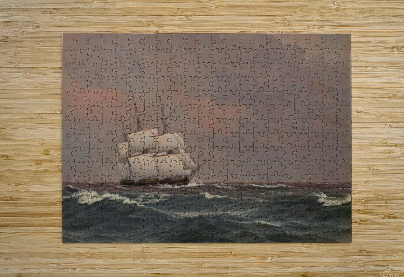 The corvette Najaden in rough seas  HD Metal print with Floating Frame on Back