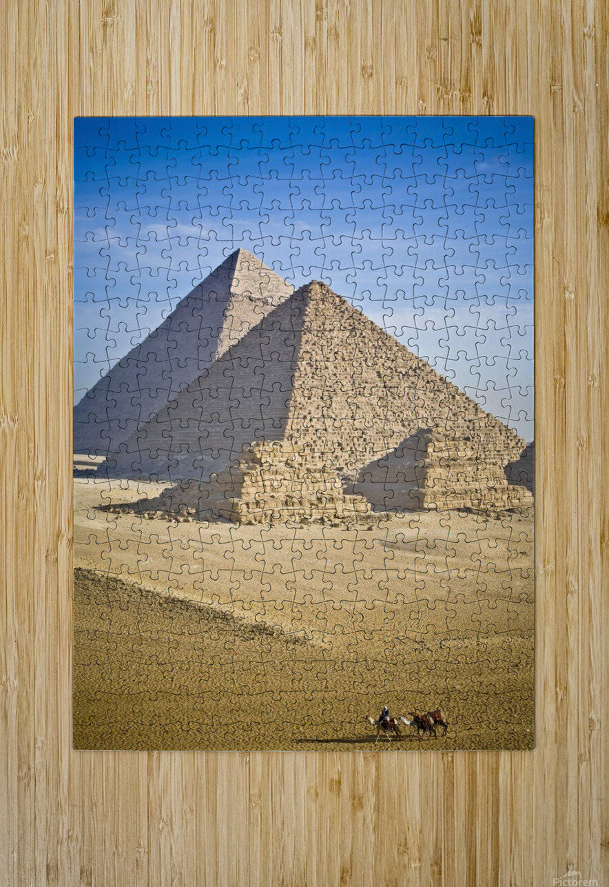 The Pyramids With Two Men On Camels Going By; Cairo,Egypt,Africa  HD Metal print with Floating Frame on Back