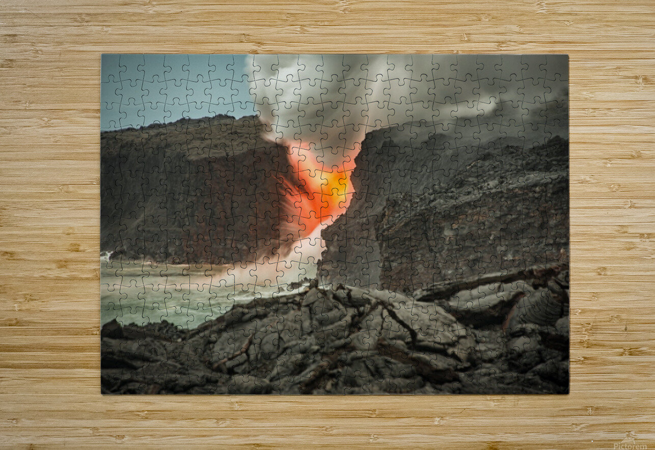 Lava Entering the Ocean  HD Metal print with Floating Frame on Back