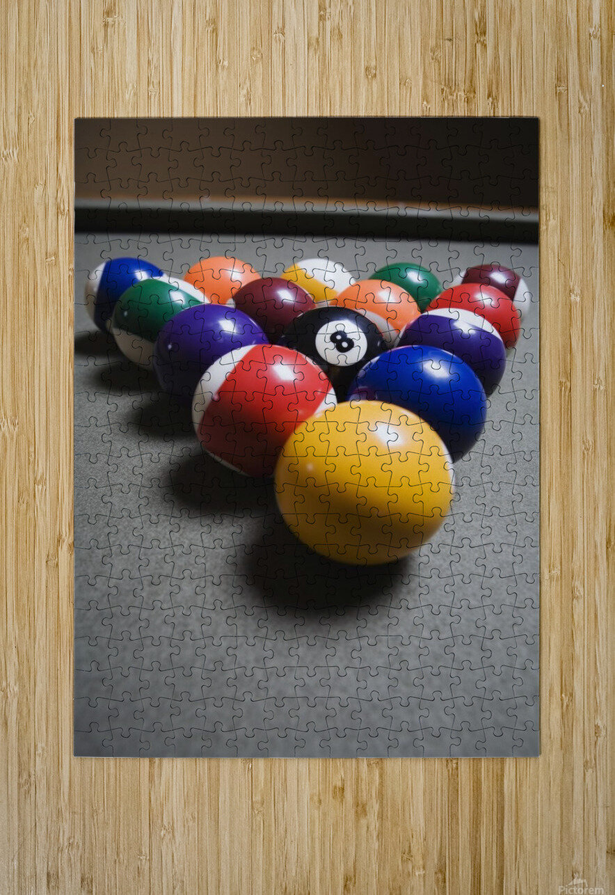 Pool Balls On A Billiard Table With The Eight Ball Facing Upwards  HD Metal print with Floating Frame on Back