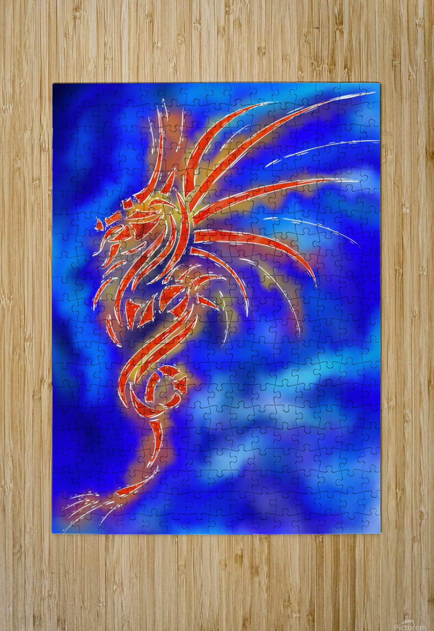 Essemios - furious dragon  HD Metal print with Floating Frame on Back
