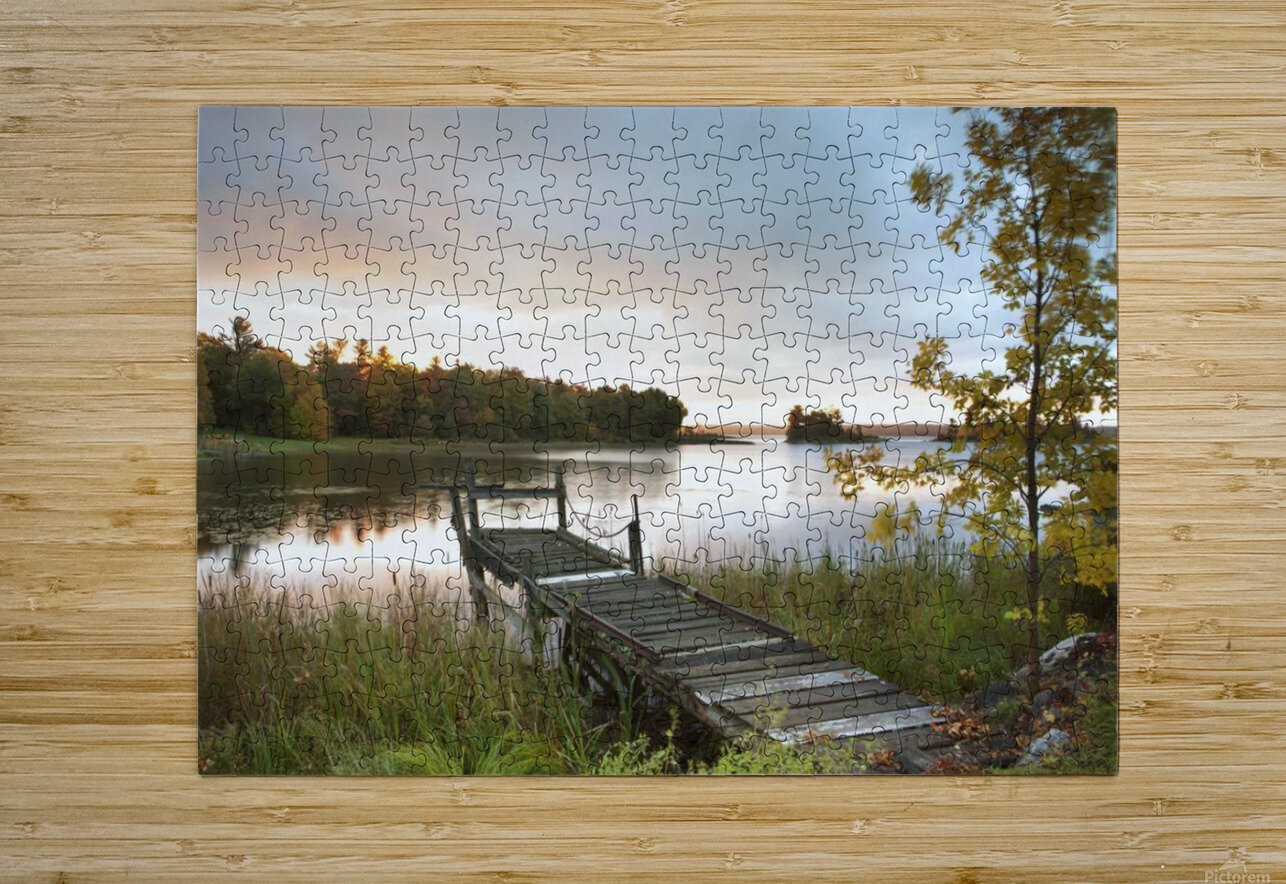 A Dock On A Lake At Sunrise Near Wawa; Ontario, Canada  HD Metal print with Floating Frame on Back
