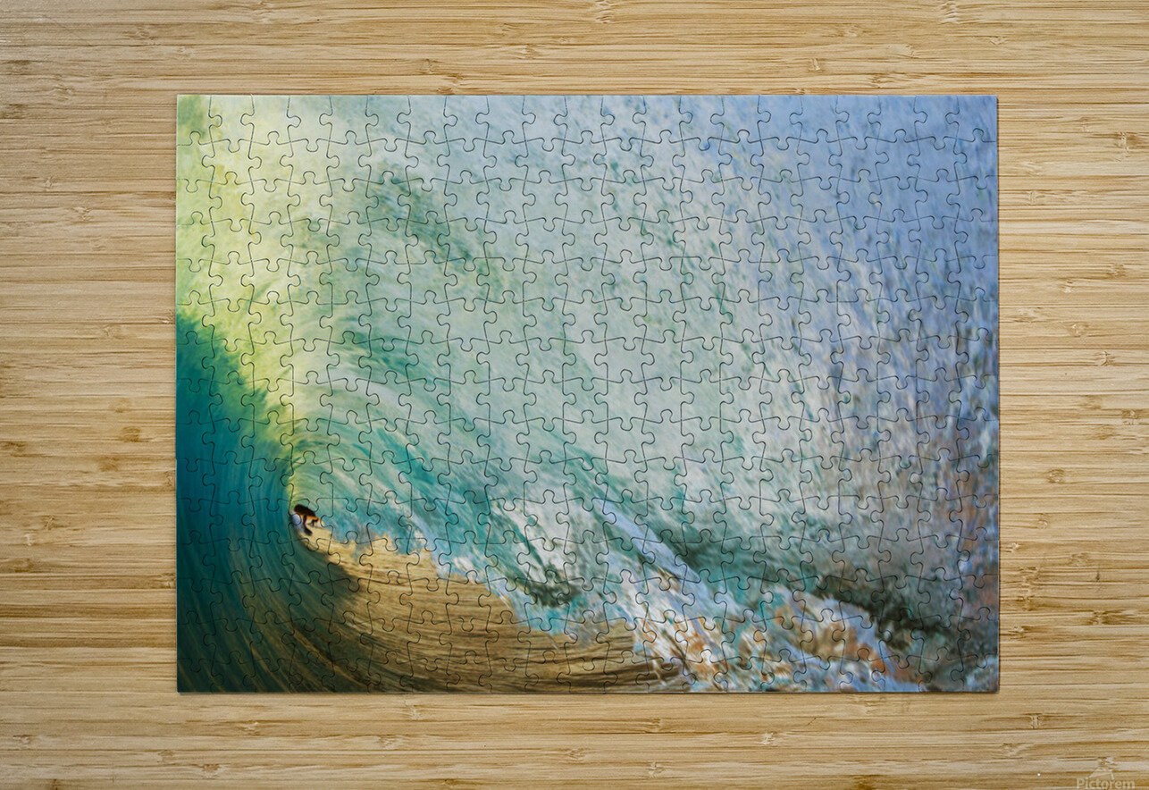 Hawaii, Maui, Makena Beach, View Of Distant Surfers Through Barrel Of Turquoise Wave, Sunset Light.  HD Metal print with Floating Frame on Back