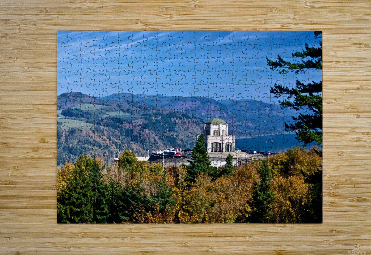 Crown Point overlooking Columbia River Gorge with fall colors  HD Metal print with Floating Frame on Back
