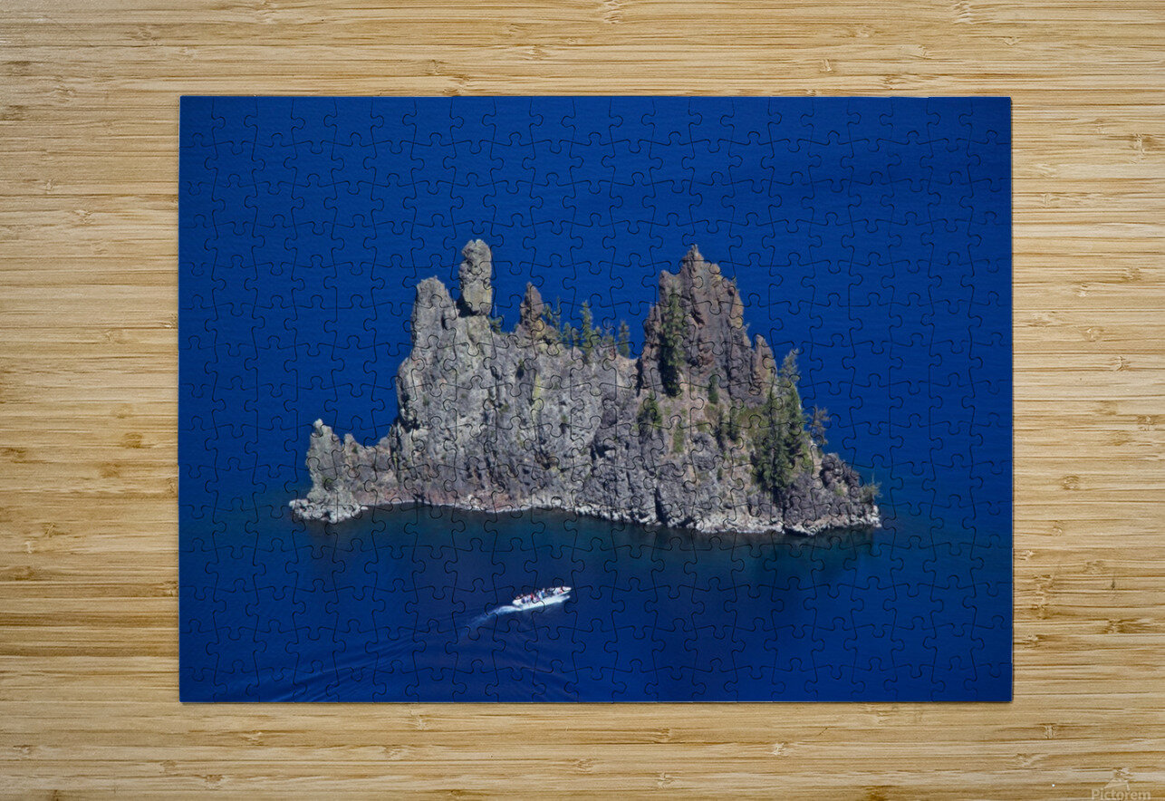 Phantom Ship and tourist boat, Crater Lake National Park     HD Metal print with Floating Frame on Back