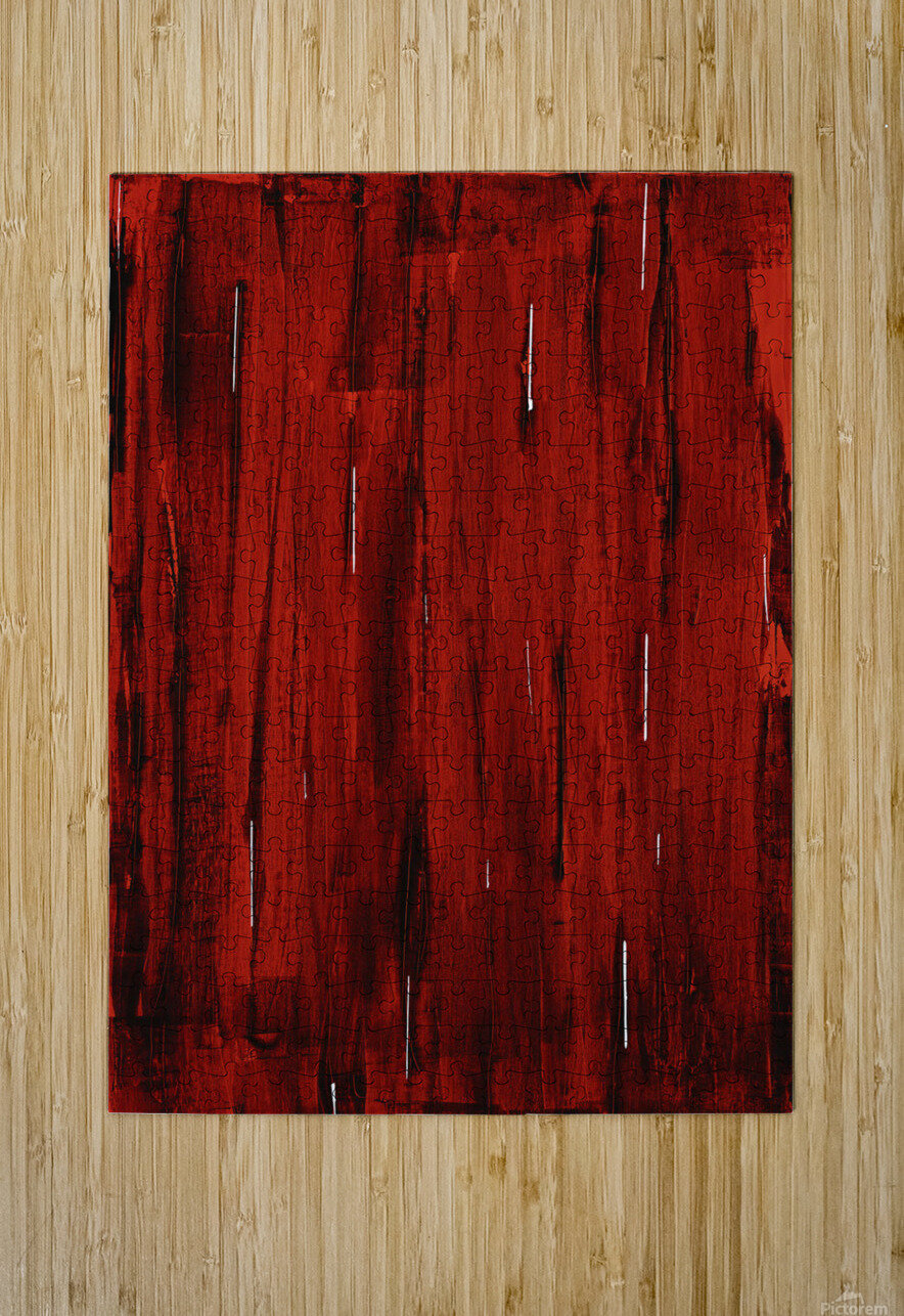 Rain, Abstract Painting In Red And Black (Acrylic Painting).  HD Metal print with Floating Frame on Back