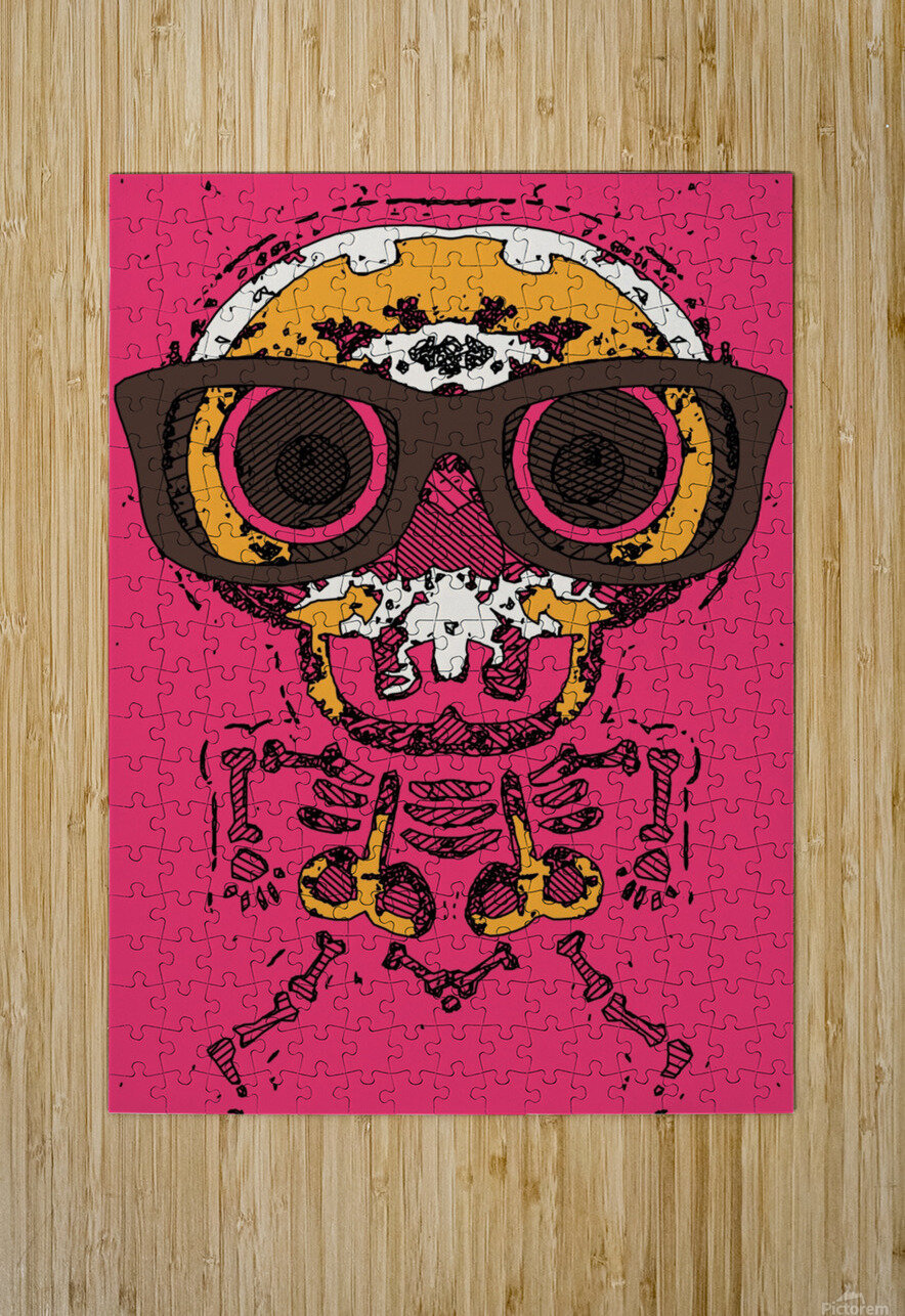funny skull and bone graffiti drawing in orange brown and pink  HD Metal print with Floating Frame on Back