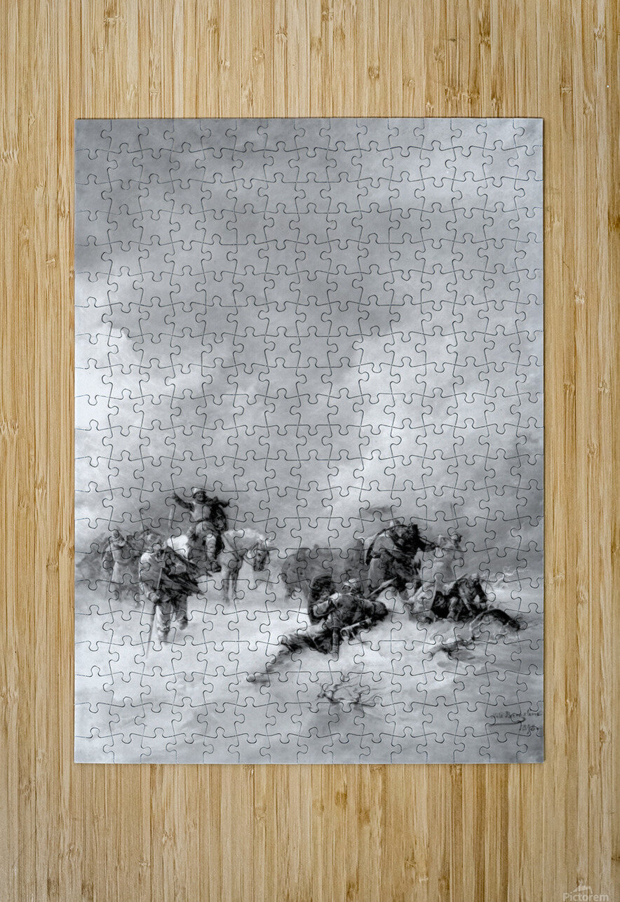 A pack of hunters in winter  HD Metal print with Floating Frame on Back