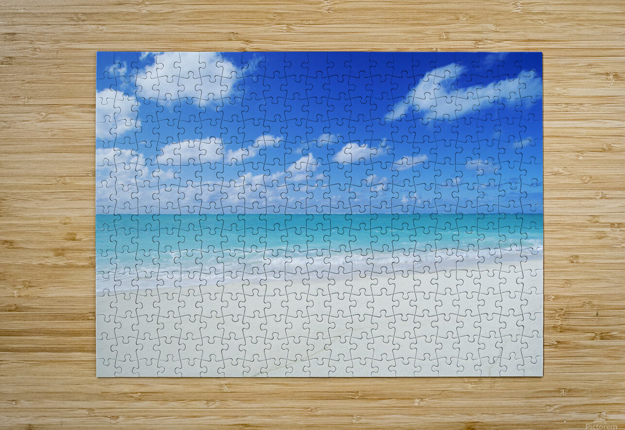 Northwestern Hawaiian Islands, Midway Atoll, Sand Island, Turquoise Ocean And White Sand Beach.  HD Metal print with Floating Frame on Back