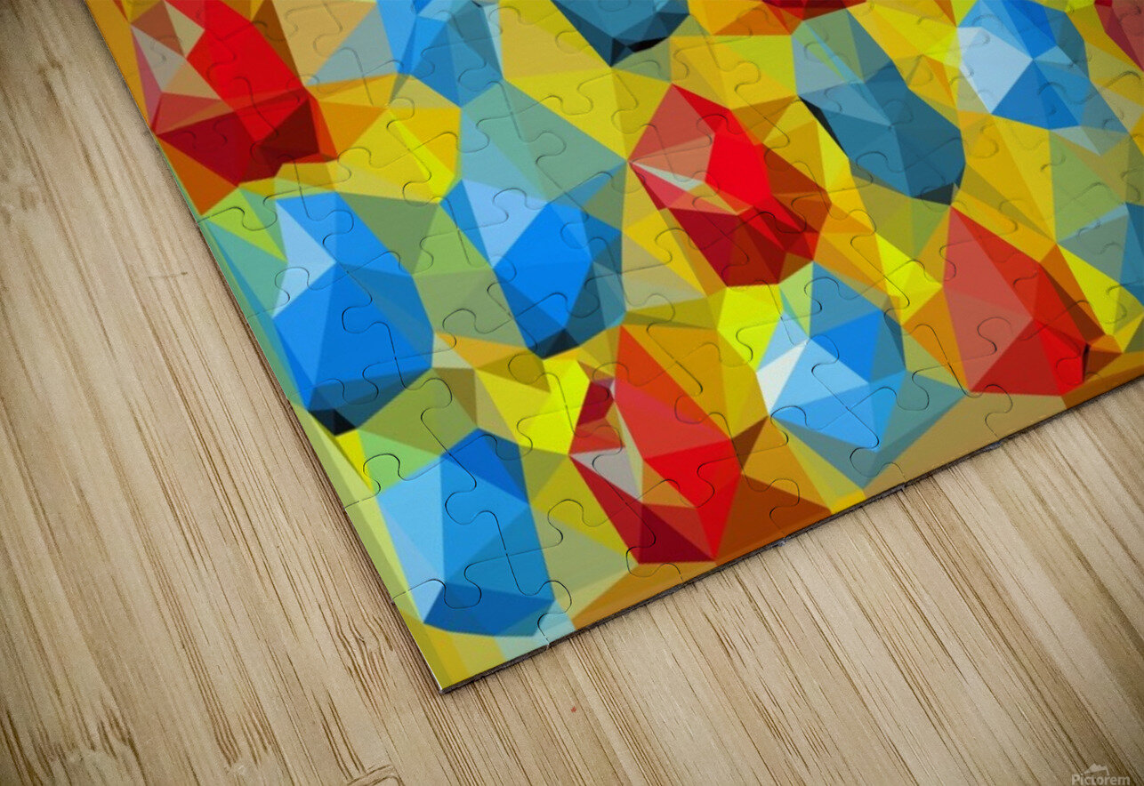 geometric polygon abstract pattern yellow blue red HD Sublimation Metal print