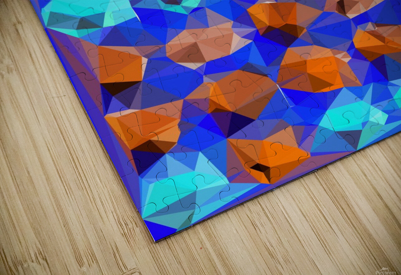 geometric polygon abstract pattern in blue and brown HD Sublimation Metal print