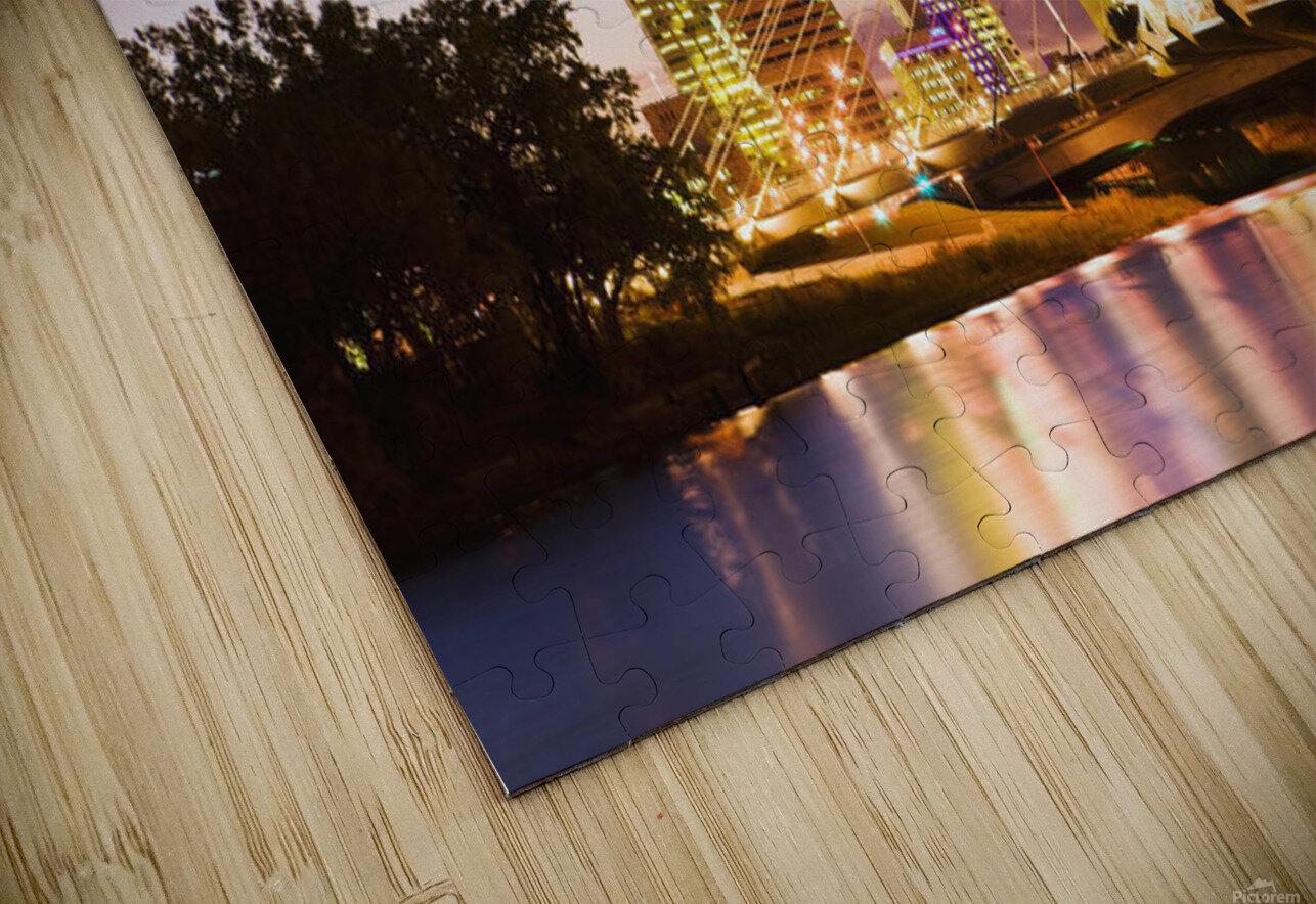 City Skyline, Red River And Provencher Bridge At Dusk, Winnipeg, Manitoba HD Sublimation Metal print