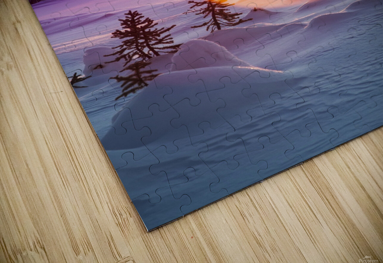 Sun flare glowing over a winter landscape; Trapper Creek, Alaska, United States of America HD Sublimation Metal print