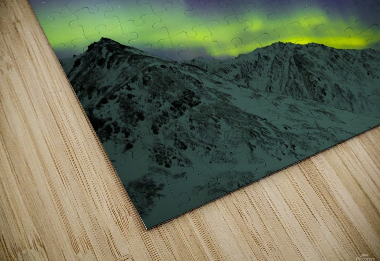 Aurora borealis swirls over mountains within Denali National Park on a very cold winter night; Alaska, United States of America HD Sublimation Metal print