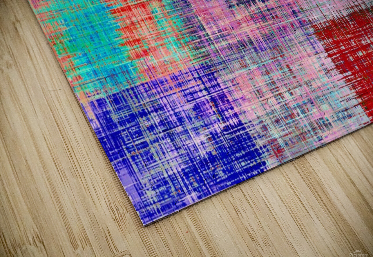 square plaid pattern texture abstract in red blue pink purple HD Sublimation Metal print
