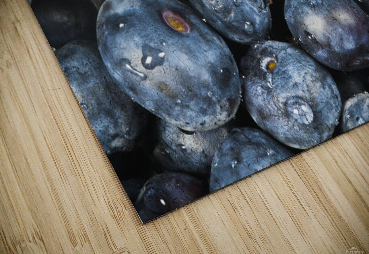 Close up shot of several fresh blueberries. HD Sublimation Metal print