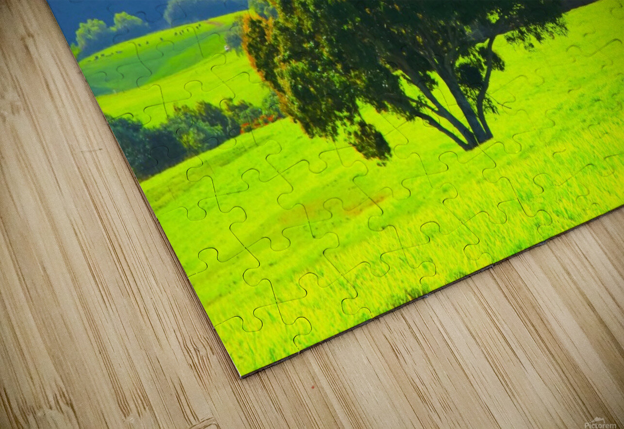 green tree in the green field with green mountain and blue sky background HD Sublimation Metal print