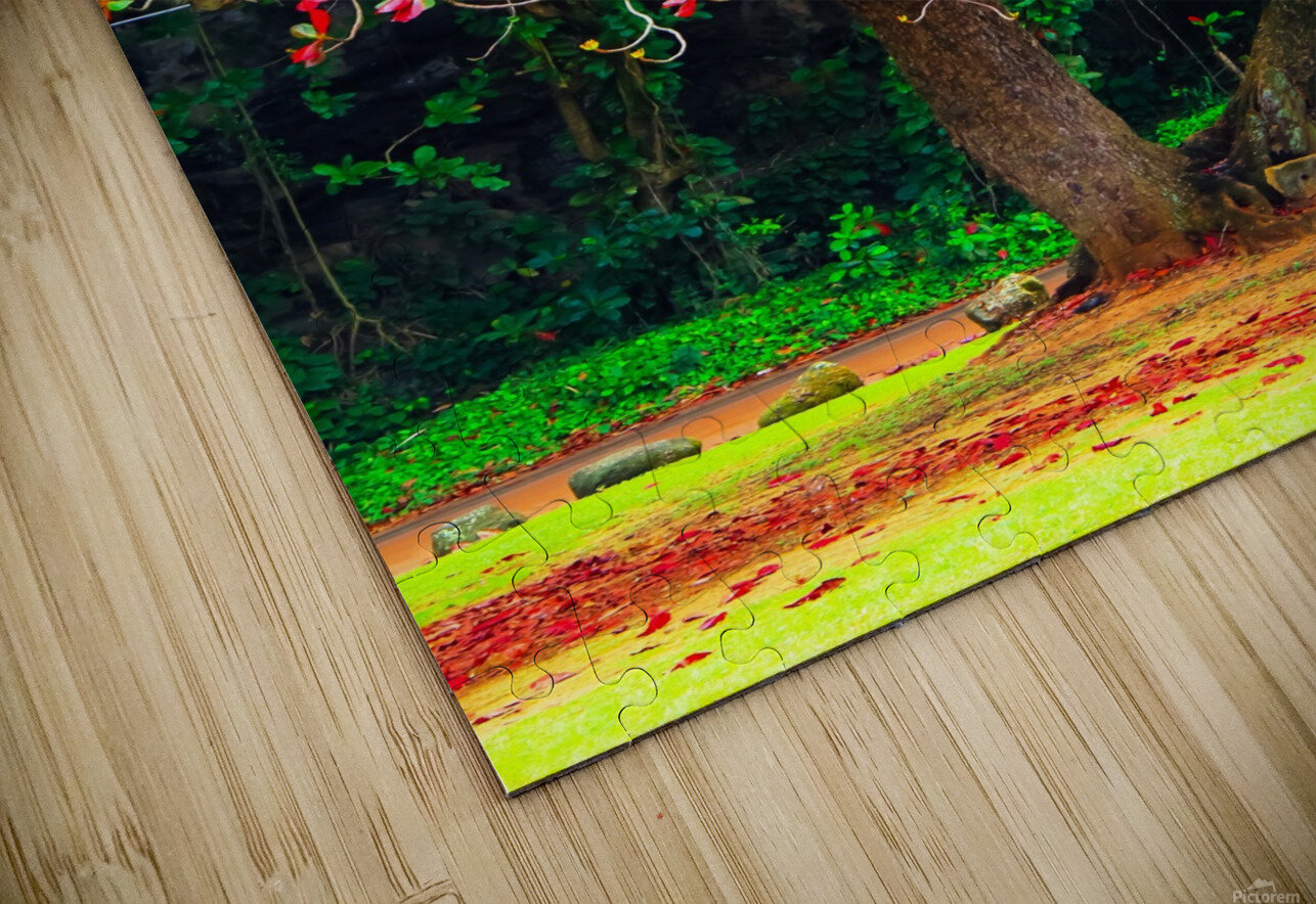 big tree with green yellow and red leaves HD Sublimation Metal print