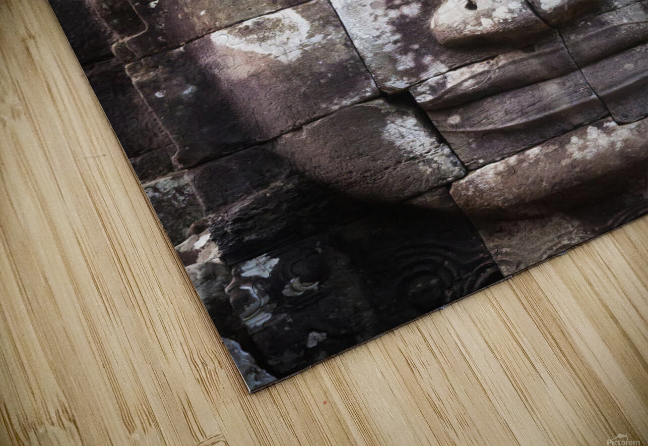 A face sculpture on a stone wall at angkor wat;Cambodia HD Sublimation Metal print