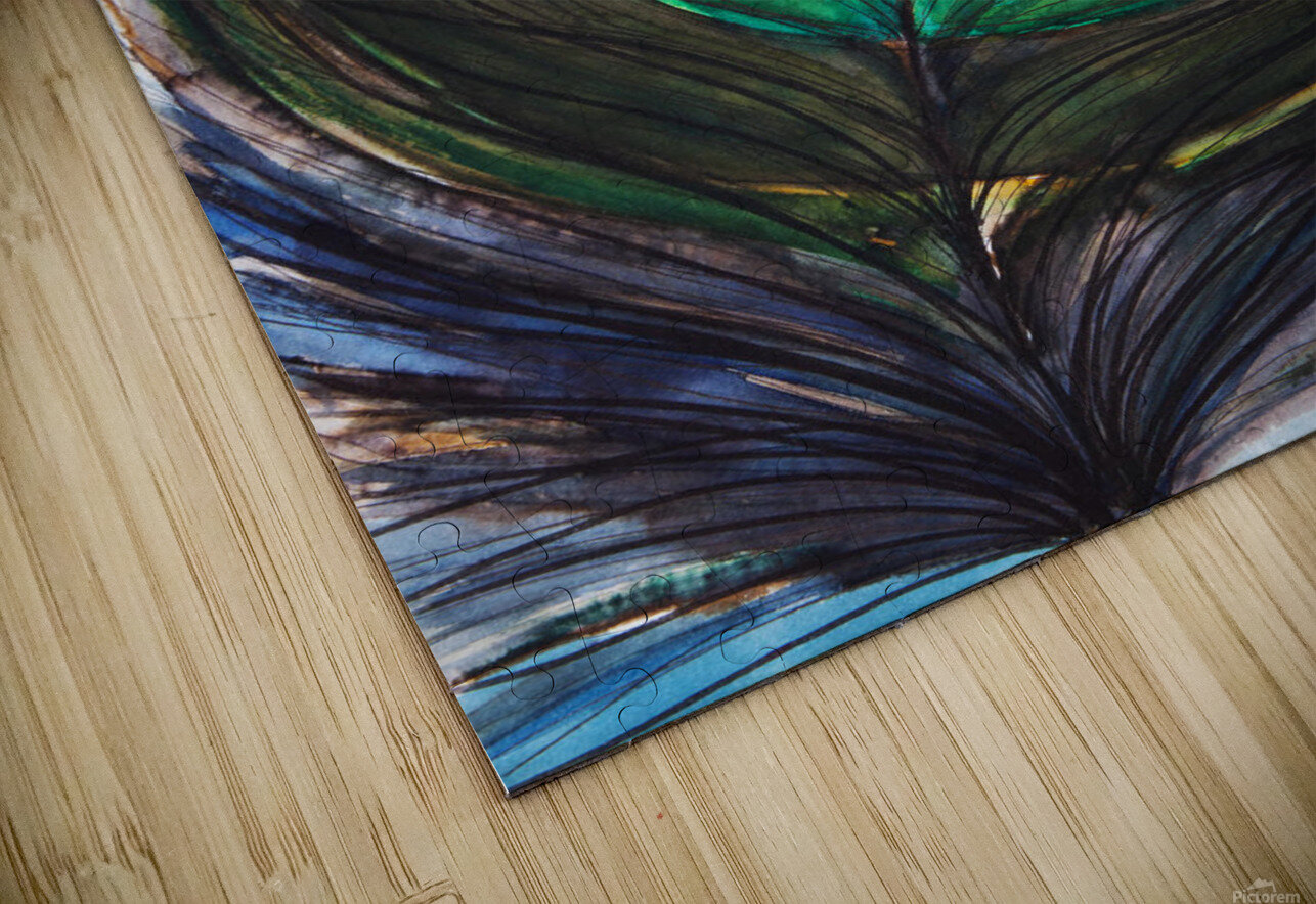Artwork showing the detail of a colourful bird feather HD Sublimation Metal print