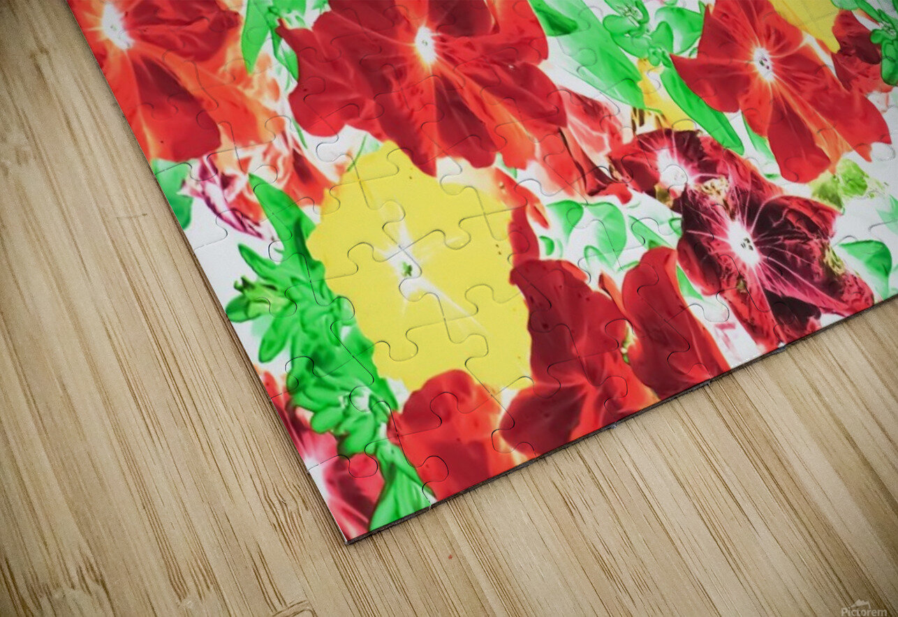 red flower and yellow flower with green leaf abstract background HD Sublimation Metal print