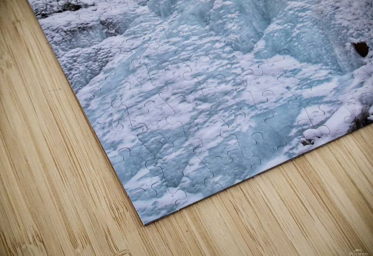 Ice Climbing Waterfall HD Sublimation Metal print