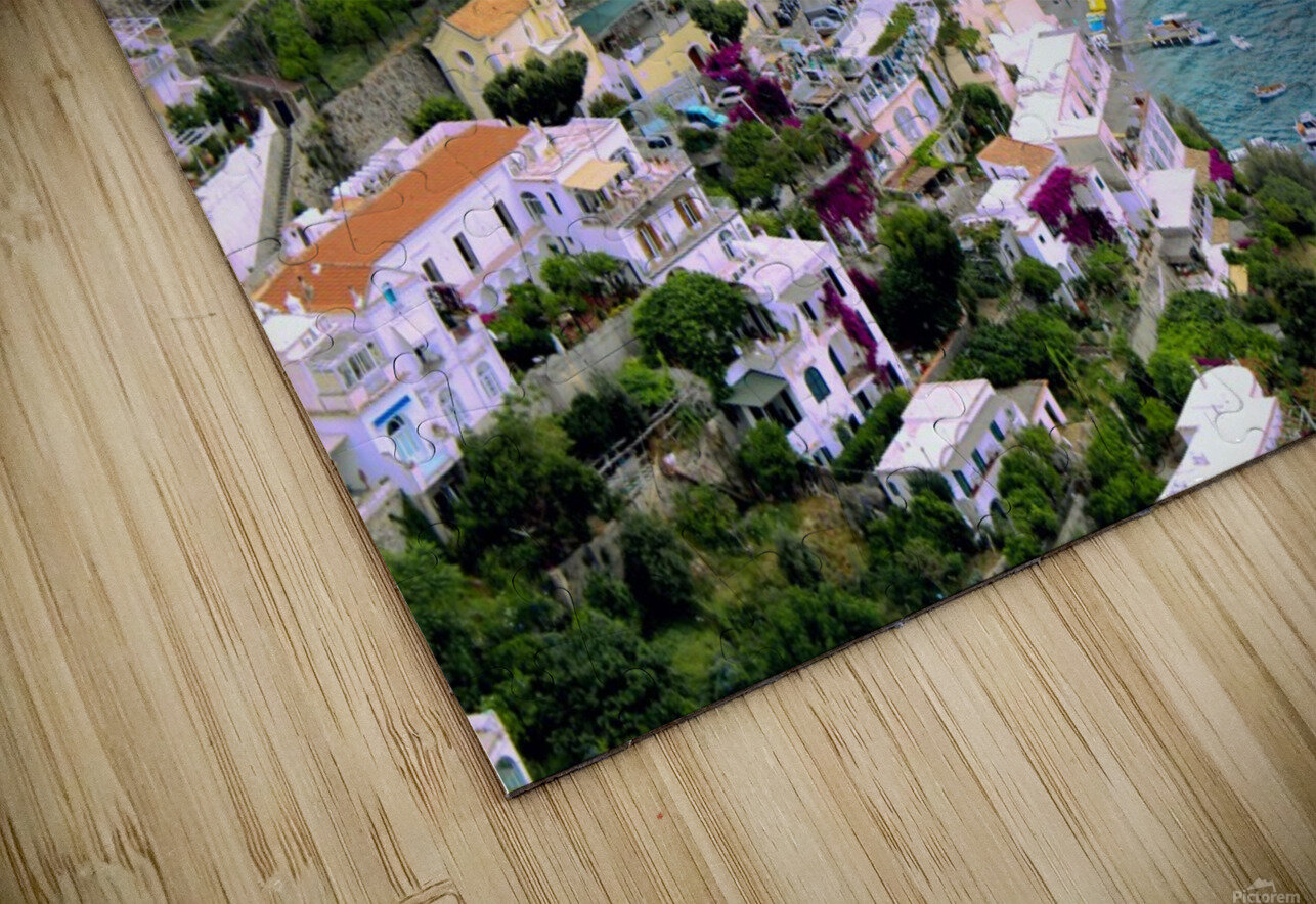 Aerial view of Positano Beach - Italy HD Sublimation Metal print