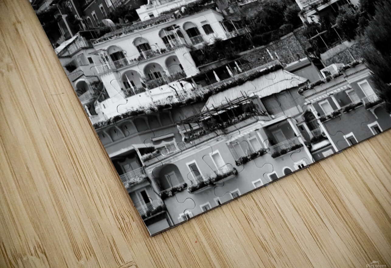 Black and White Landscape - Positano - Italy HD Sublimation Metal print