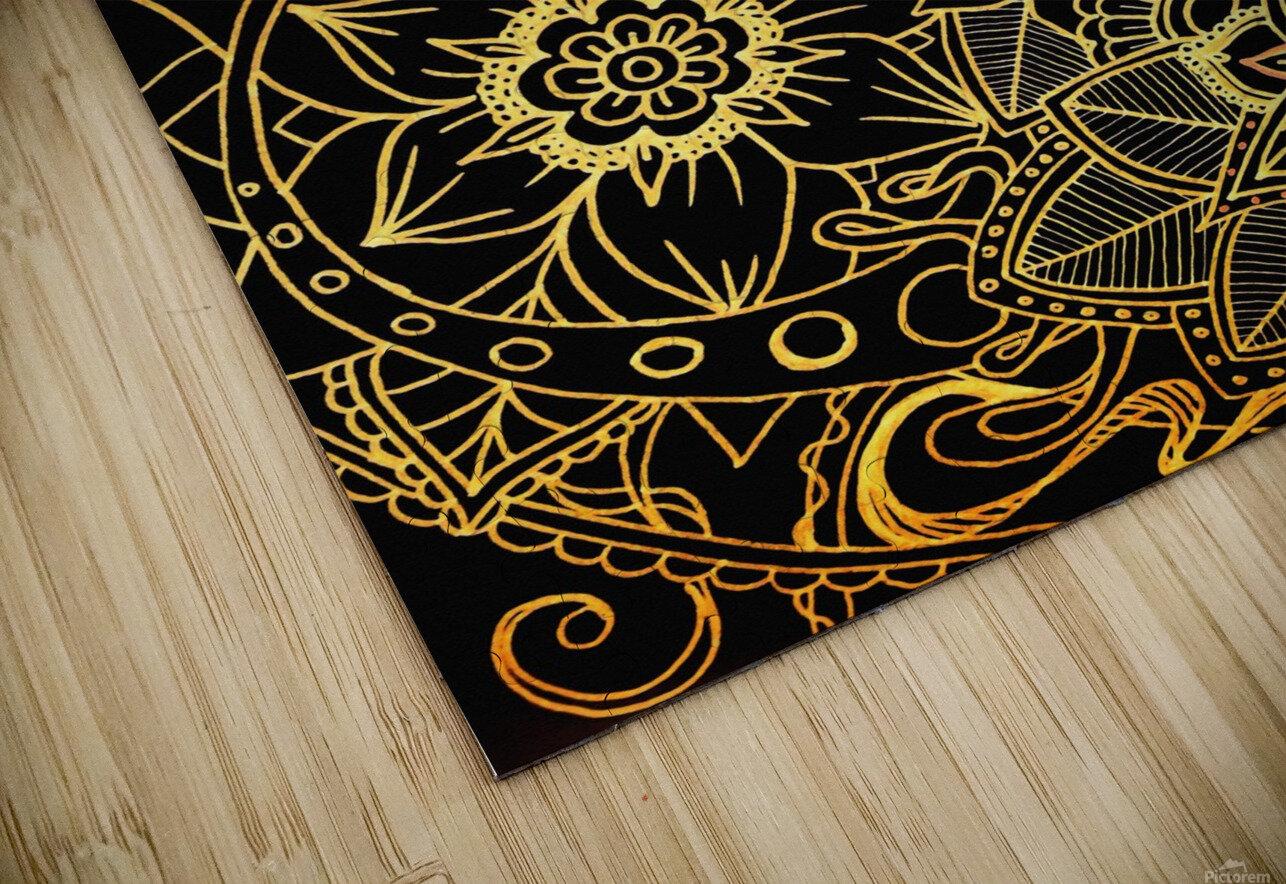 Floral Doodle Gold G523 HD Sublimation Metal print