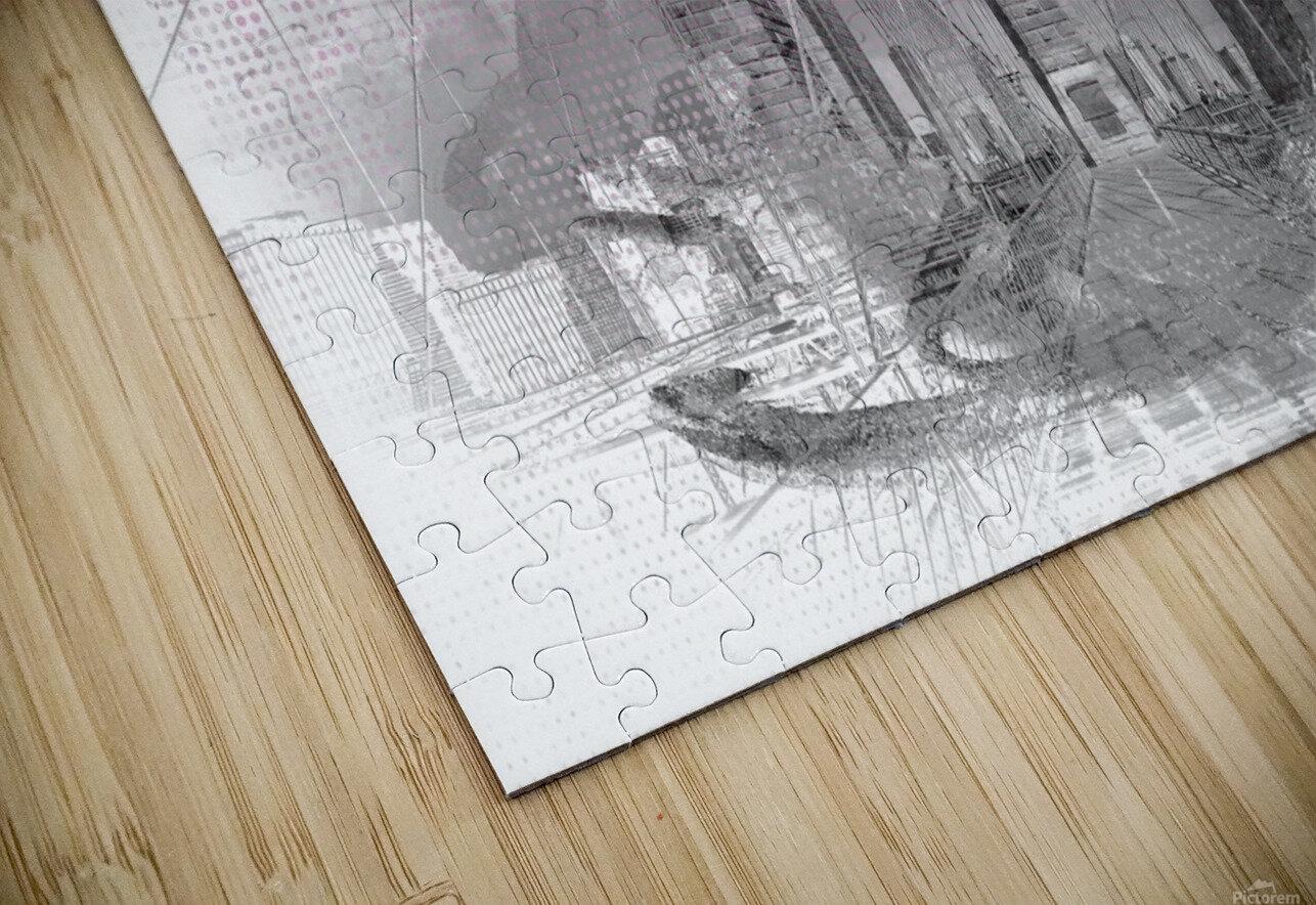 City Art Brooklyn Bridge in Detail    HD Sublimation Metal print