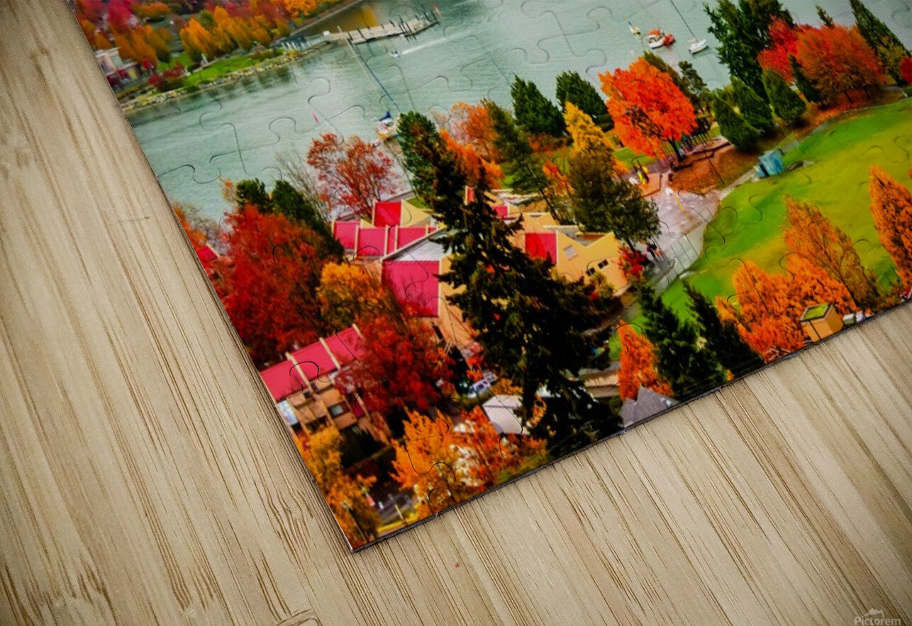 colorful autumn landscape of a modern city by the river HD Sublimation Metal print