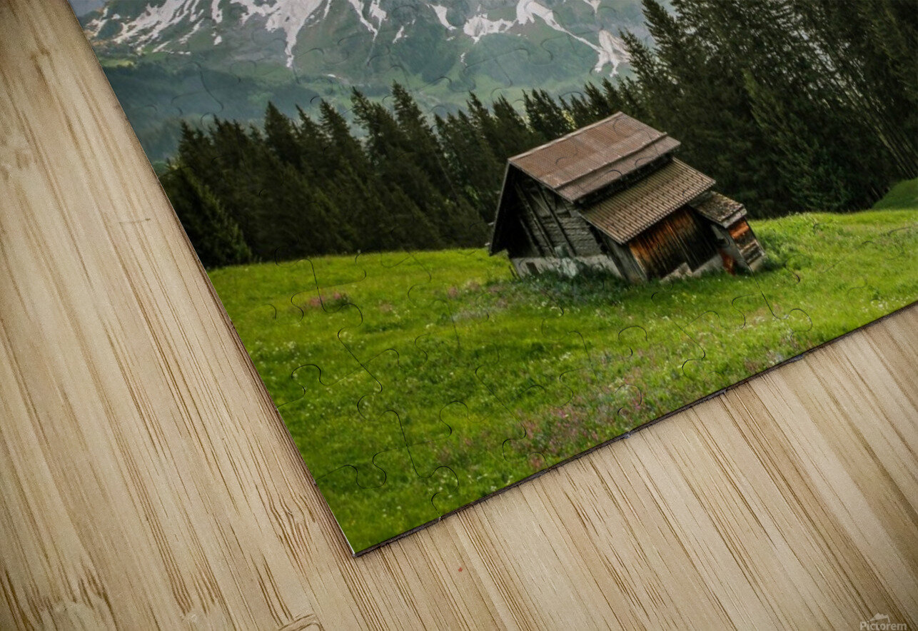 Hut on a hill HD Sublimation Metal print