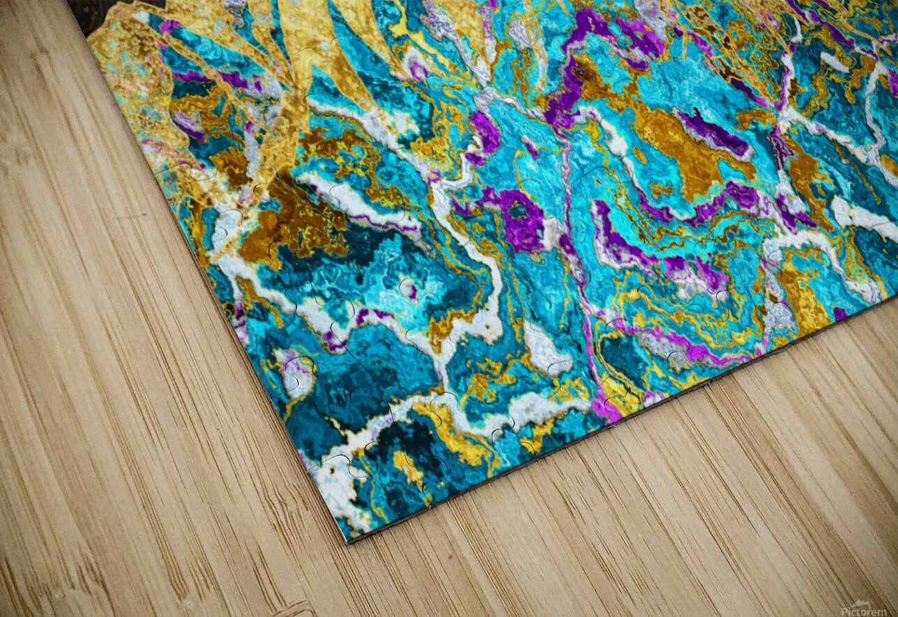Gold Turquoise Mountain - Illustration I HD Sublimation Metal print