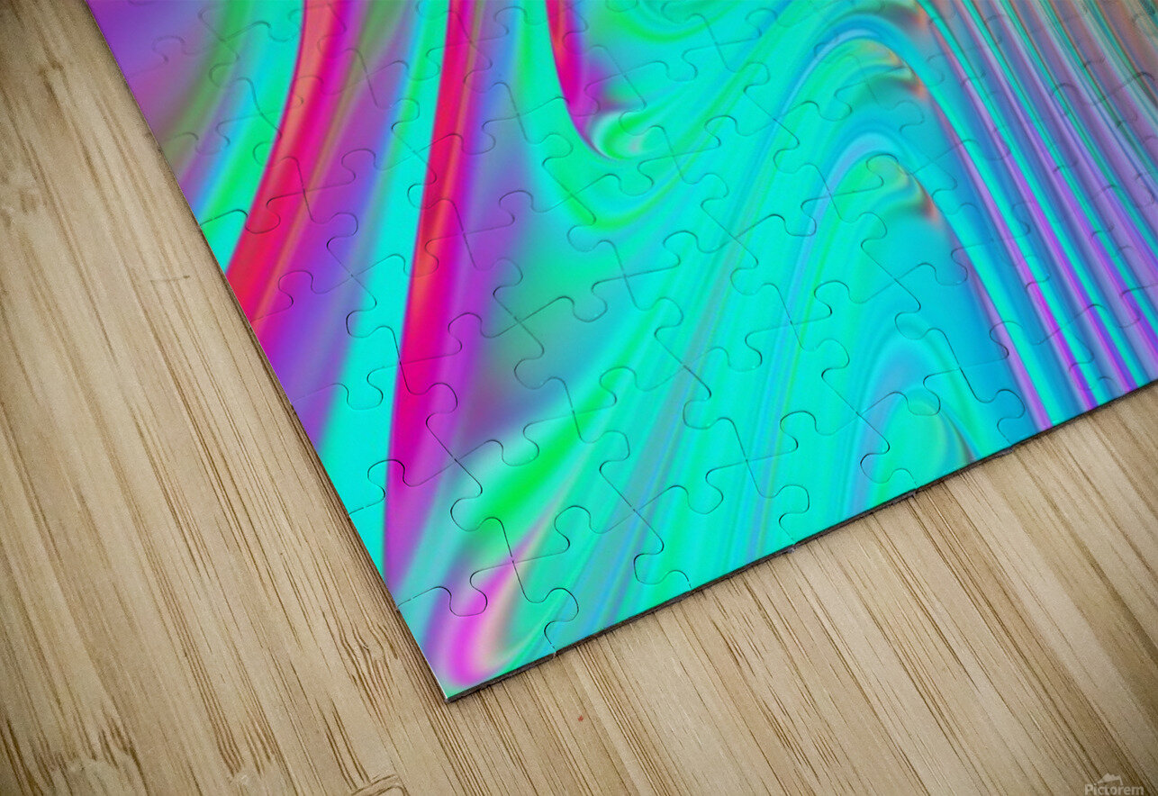 Abstract Colorful Waves HD Sublimation Metal print