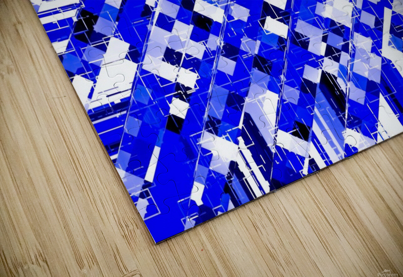 geometric square pixel pattern abstract background in blue HD Sublimation Metal print