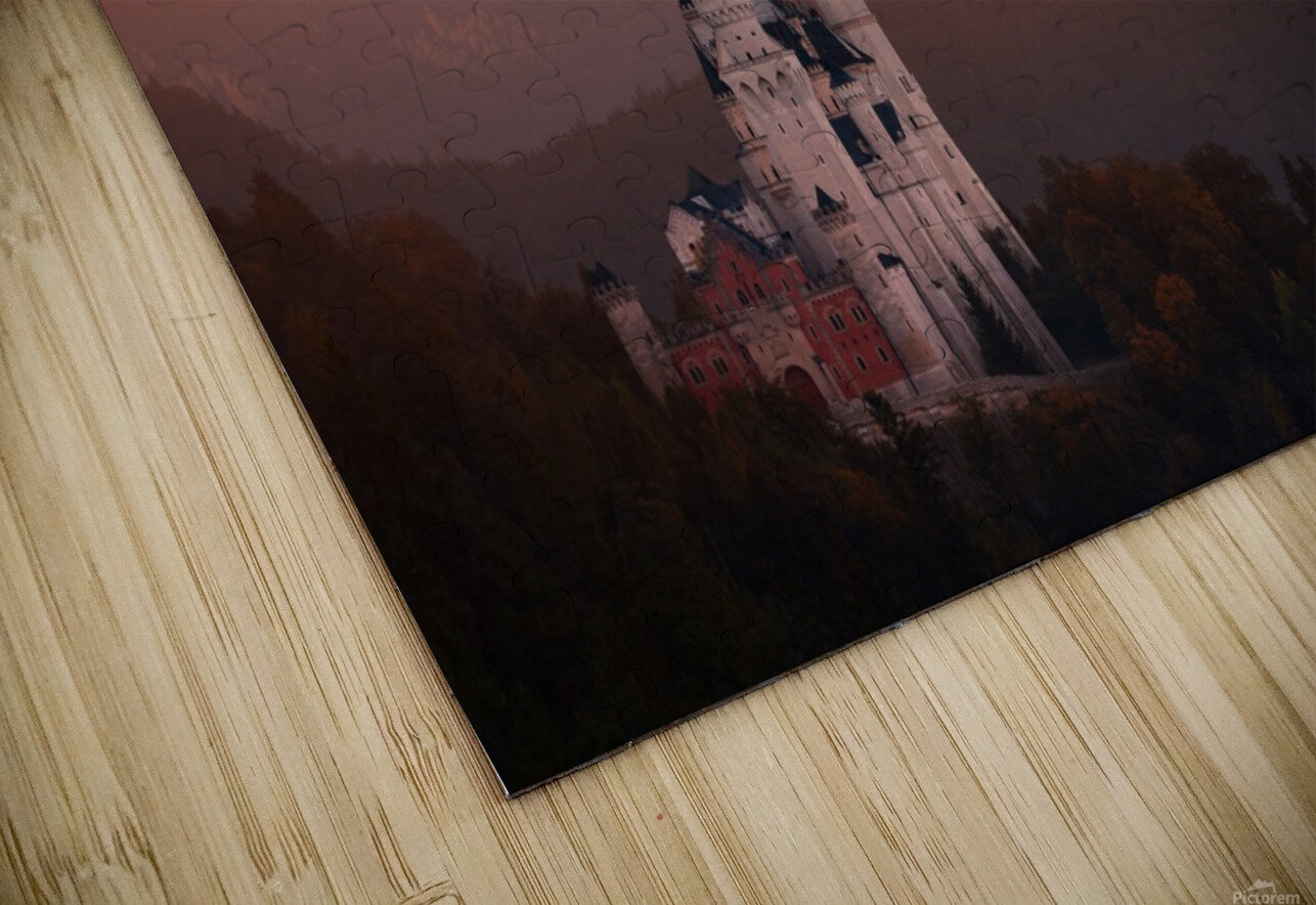 Red morning above the castle HD Sublimation Metal print