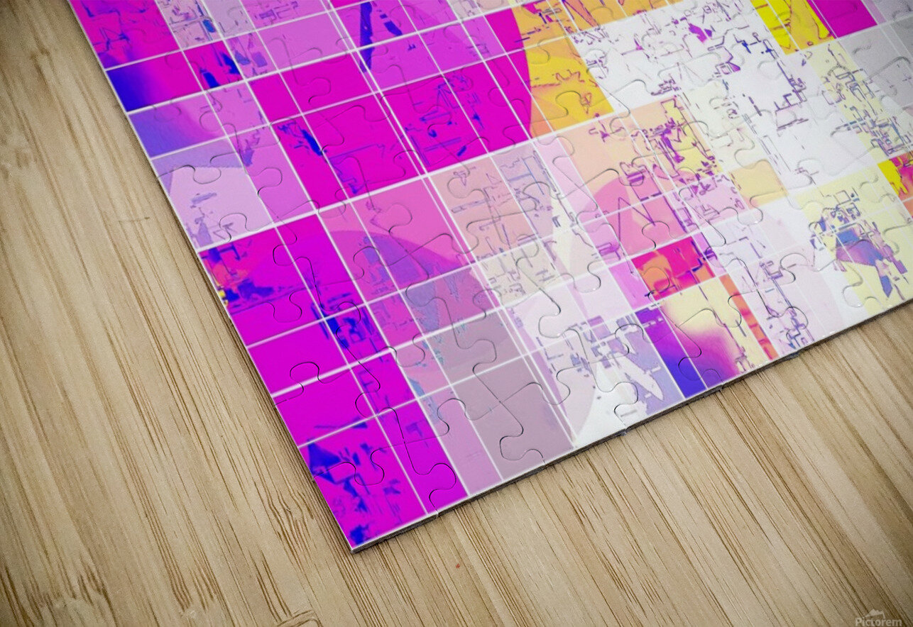 geometric square and circle pattern abstract in pink purple yellow HD Sublimation Metal print