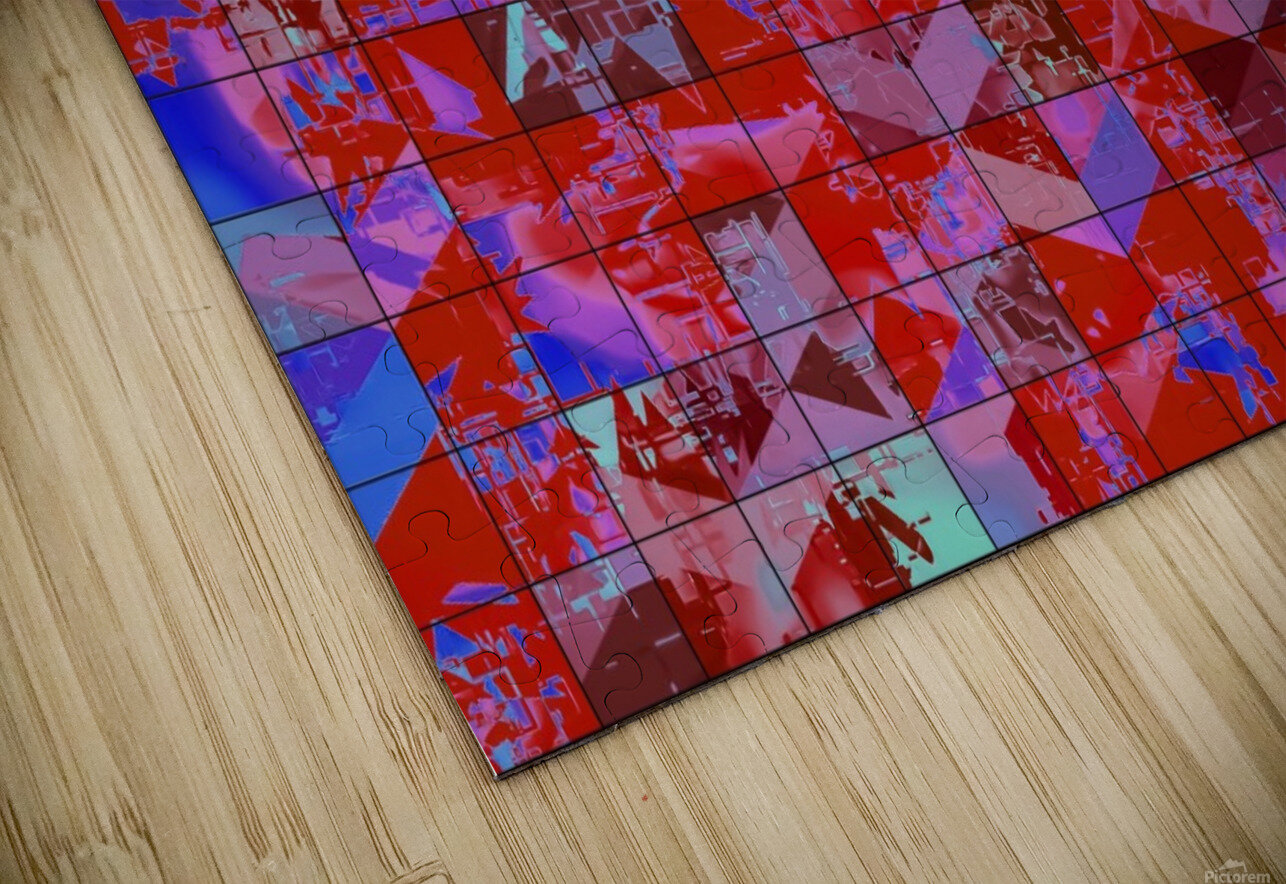 geometric square and triangle pattern abstract in red and blue HD Sublimation Metal print