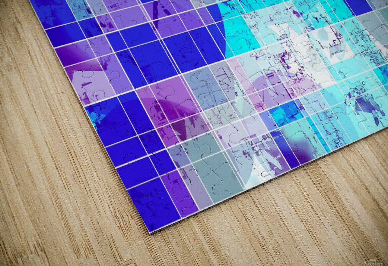 geometric square and circle pattern abstract in blue HD Sublimation Metal print