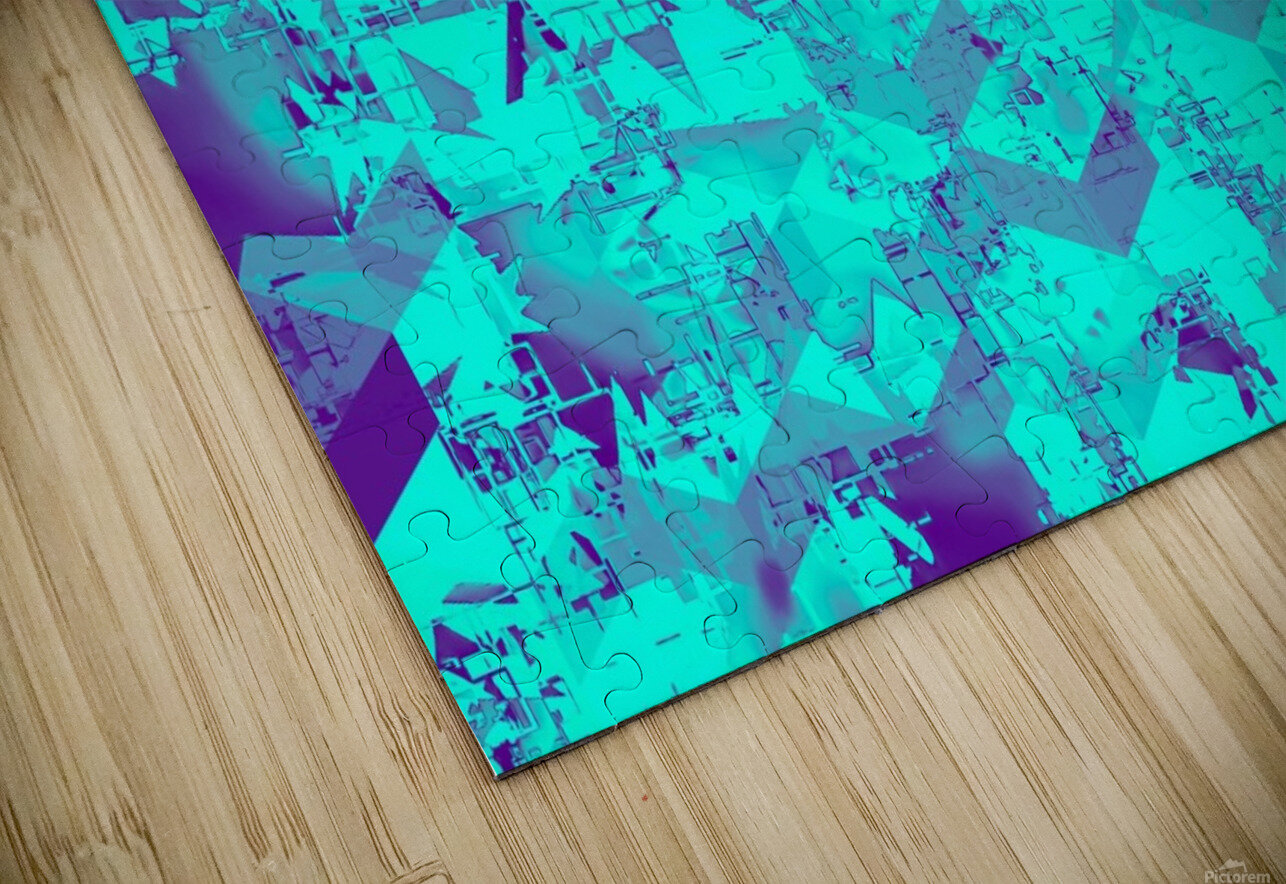 geometric square pattern abstract in blue HD Sublimation Metal print