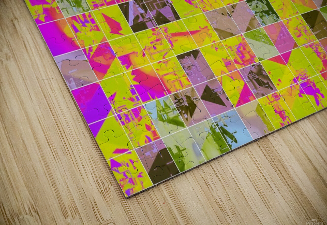 geometric square pattern abstract in yellow green pink HD Sublimation Metal print