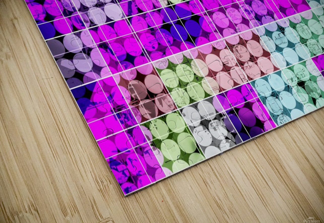 geometric square and circle pattern abstract in pink blue HD Sublimation Metal print
