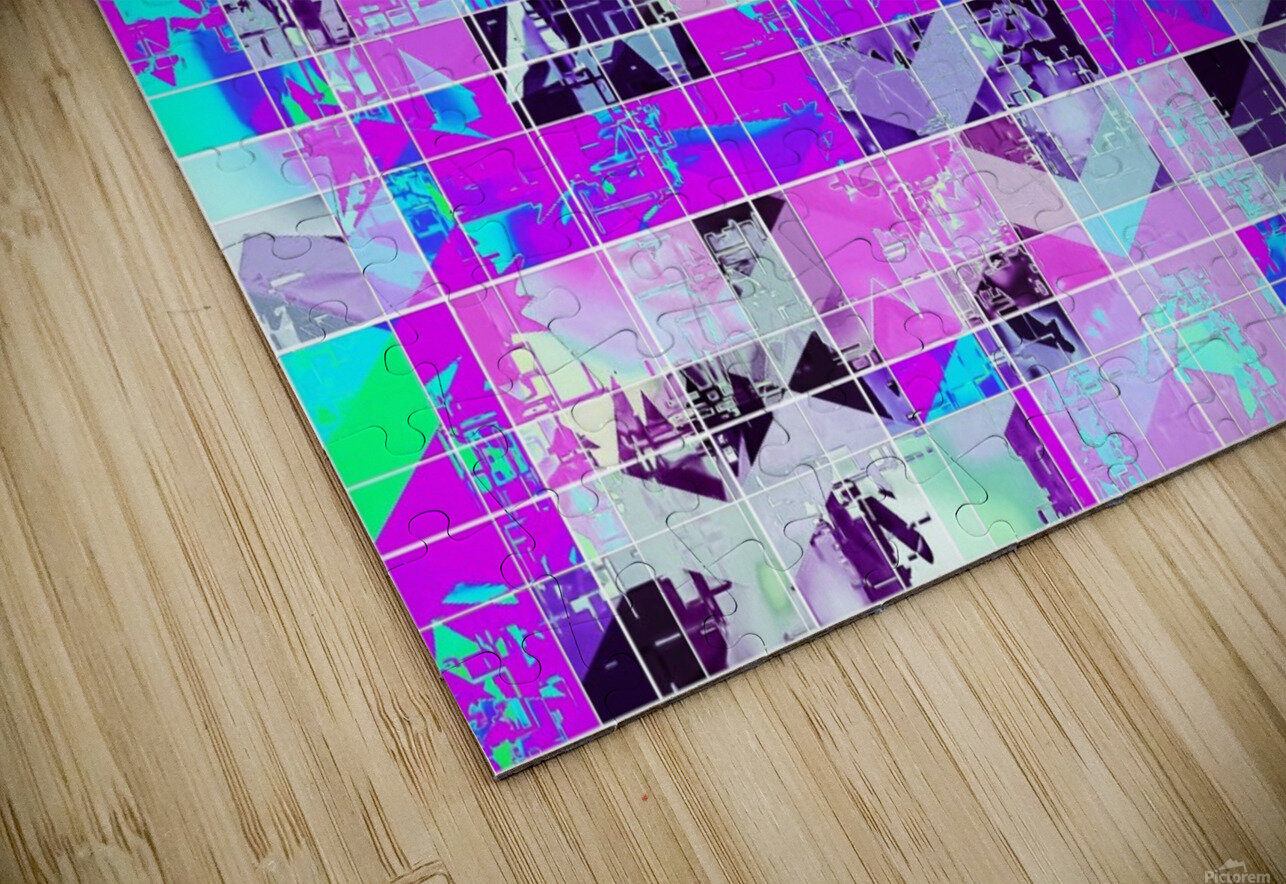 geometric square pattern abstract in purple blue HD Sublimation Metal print