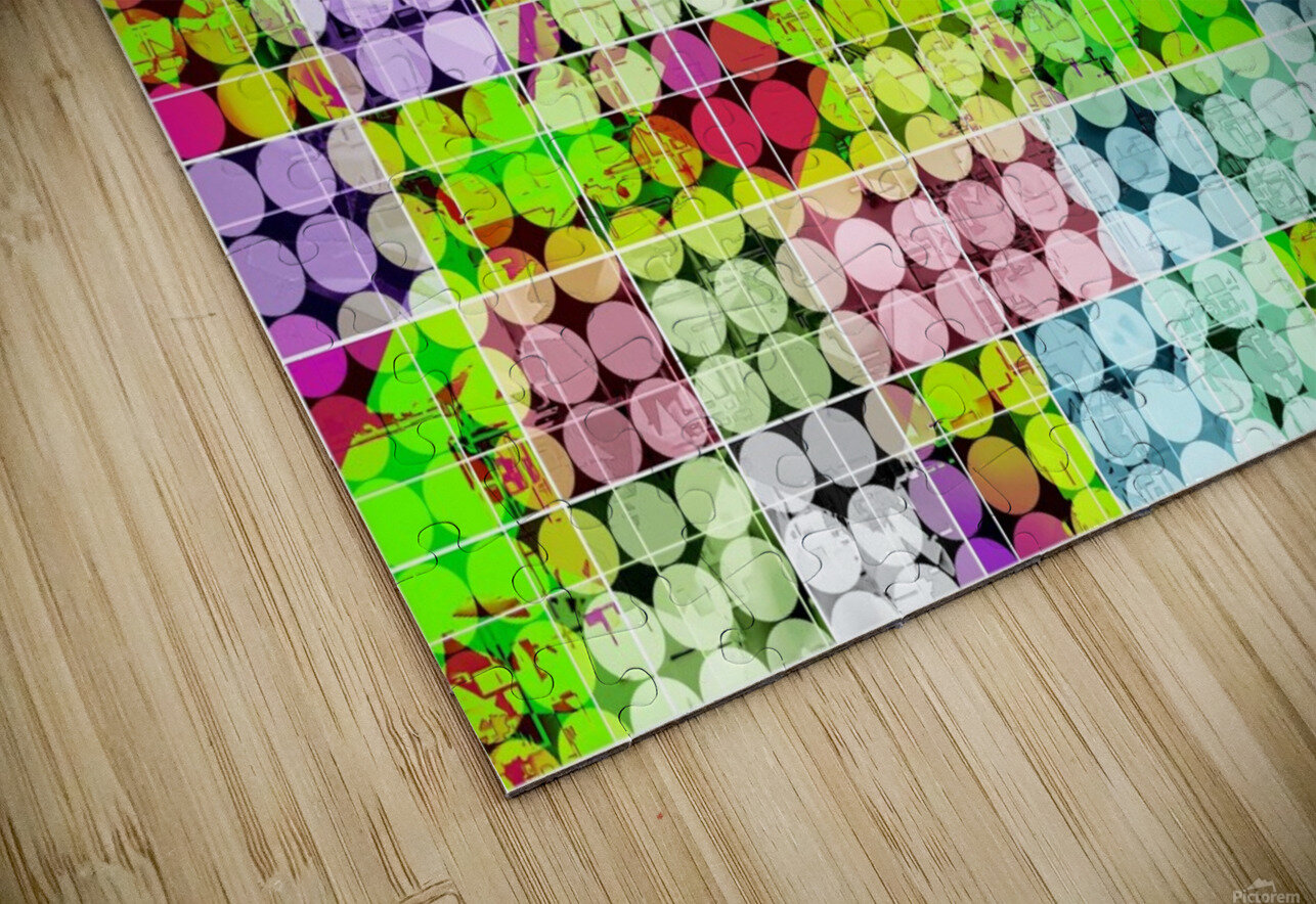 geometric square and circle pattern abstract in green pink HD Sublimation Metal print