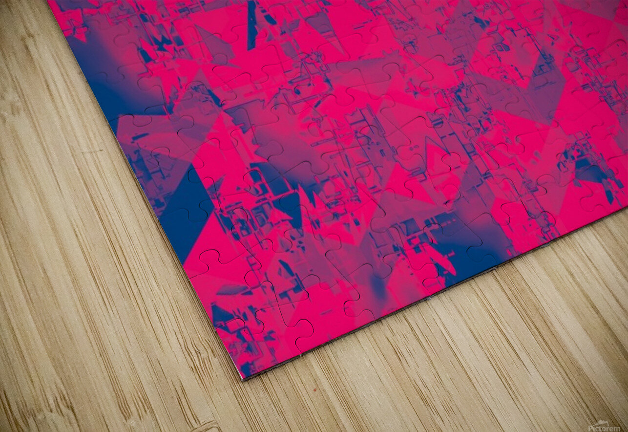 geometric square pattern abstract in pink blue HD Sublimation Metal print