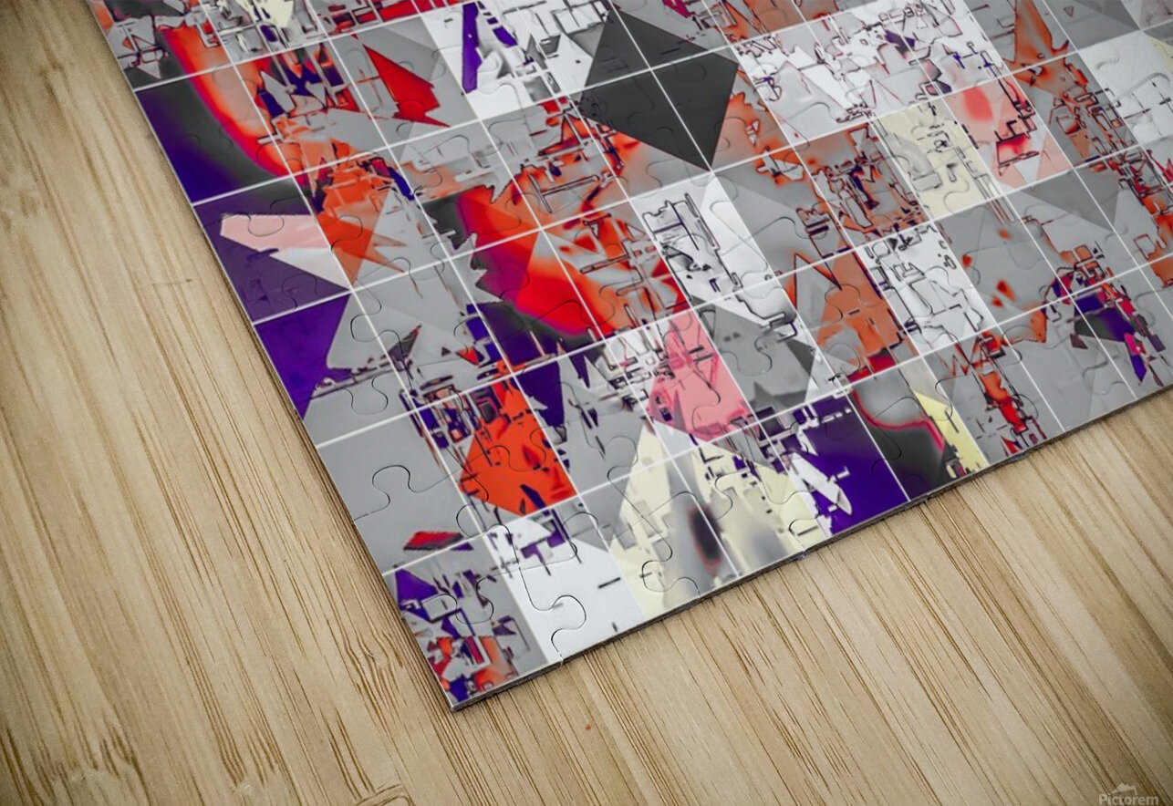 geometric square pixel pattern abstract in purple orange red HD Sublimation Metal print